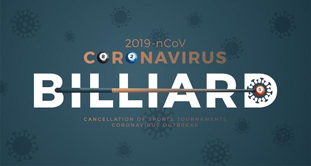 Coronavirus di avvertenza della bandiera del biliardo. ferma l'epidemia 2019-ncov. pericolo di coronavirus e rischio per la salute pubblica malattia e focolaio di influenza. annullamento di eventi sportivi e concetto di partite