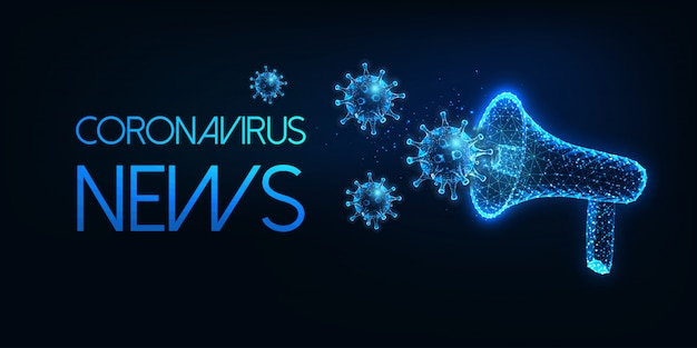 Coronavirus futuristico concetto di notizie con megafono poligonale basso incandescente e virus