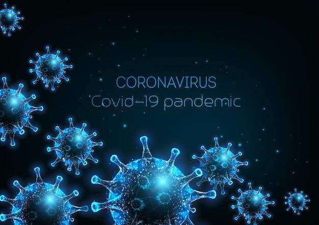 Coronavirus futuristico, modello di banner web covid-19 con cellule di virus poligonali basse e luminose