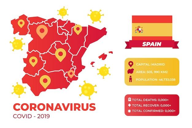Coronavirus illustrato infografica per la spagna