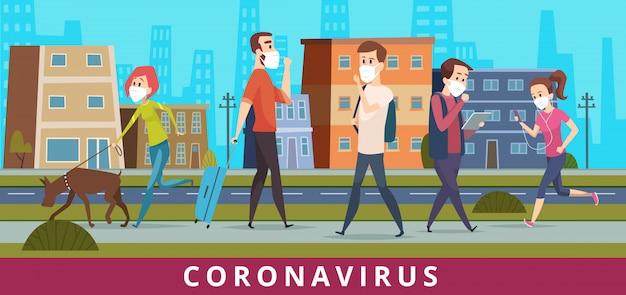 Coronavirus. la gente nella protezione del virus del ncov dell'aria della città che cammina nel fondo medico del fumetto di concetto di sanità di inquinamento della maschera