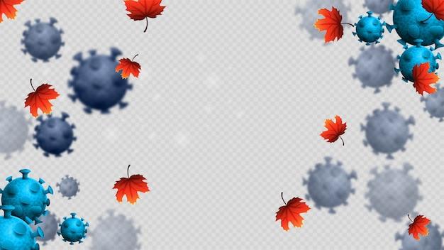 Coronavirus, seconda ondata, con molecole di coronavirus 3d, foglie di acero e segnale di avvertimento.