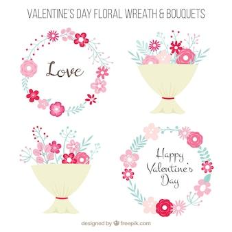 Corone di fiori san valentino e mazzi di fiori in design piatto