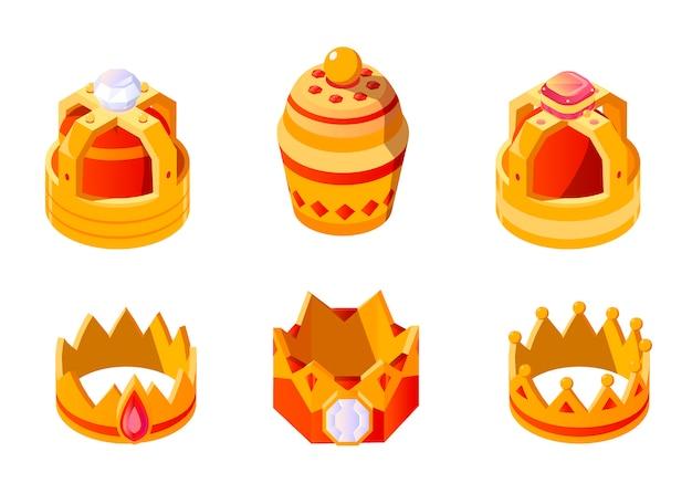 Corone dorate isometriche con gemme per re o regina insieme isolato. copricapo coronato per monarch. icona imperiale di incoronazione medievale della monarchia d'oro reale