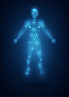 Corpo astratto con mesh sul blu