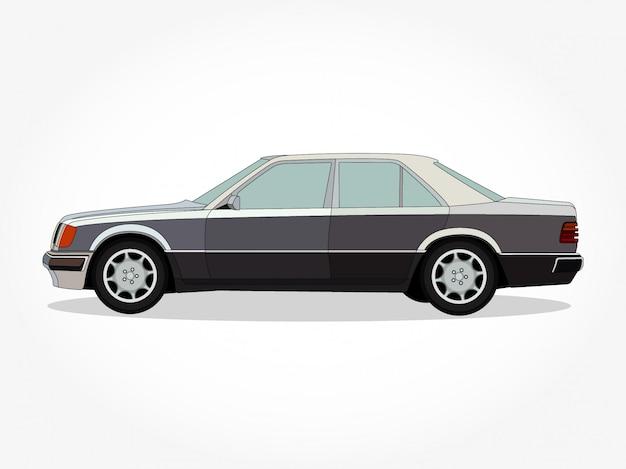 Corpo dettagliato e cerchi di un cartone animato piatto colorato per auto