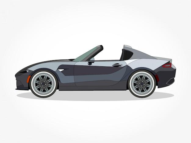 Corpo dettagliato e cerchi di un'illustrazione di cartone animato piatto colorato auto convertibile con tratto nero ed effetto ombra