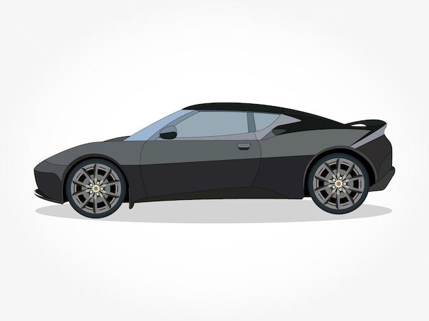 Corpo dettagliato e cerchi di un'illustrazione di cartone piatto colorato auto con tratto nero ed effetto ombra