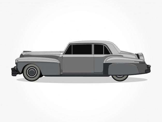 Corpo dettagliato e cerchi di un'illustrazione di vettore del fumetto di auto d'epoca piatta colorata con tratto nero ed effetto ombra