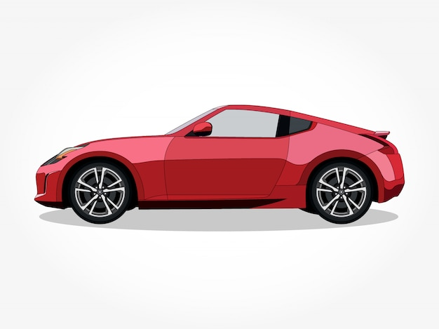 Corpo e cerchi dettagliati dell'illustrazione del fumetto dell'automobile
