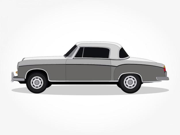 Corpo e orli dettagliati di un'illustrazione di vettore del fumetto dell'automobile classica