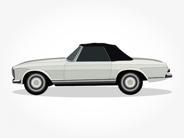 Corpo e orli dettagliati di un'illustrazione di vettore del fumetto dell'automobile convertibile