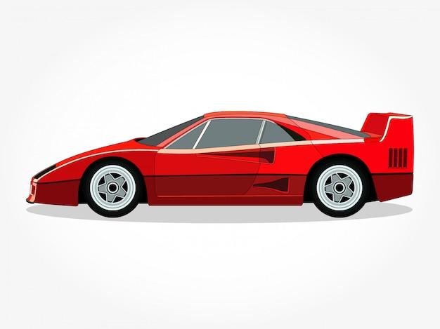 Corpo ed orli dettagliati di un'illustrazione di vettore del fumetto dell'automobile sportiva