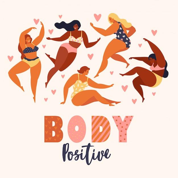 Corpo positivo. amo il tuo corpo. happy plus size ragazze e stile di vita attivo sano.
