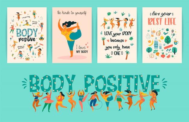 Corpo positivo. ragazze taglie forti felici e stile di vita sano e attivo.
