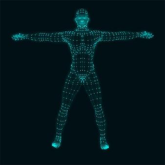 Corpo umano su sfondo nero.