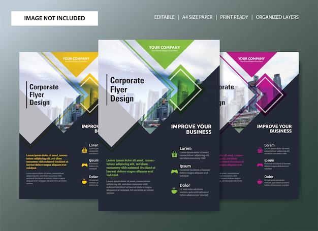 Corporate flyer template design con scelte di colore