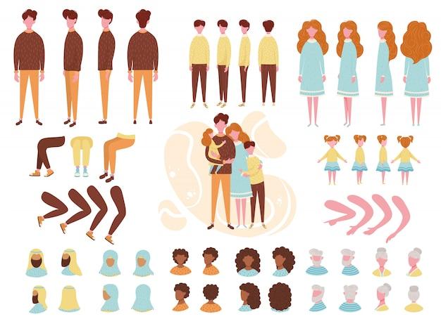 Corredo stabilito della creazione della famiglia del kit di animazione del costruttore con l'illustrazione del fumetto dei caratteri dei genitori, dei bambini e dei nonni