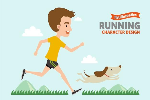 Correndo giovane con il suo cane dentro