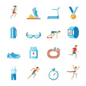 Correre l'attività sportiva di ginnastica set di pattini di vestiti di forma fisica e icone del corridore isolato illustrazione vettoriale