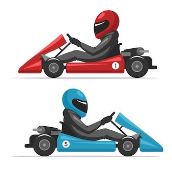 Correre su sport kart driver uomo nel casco.