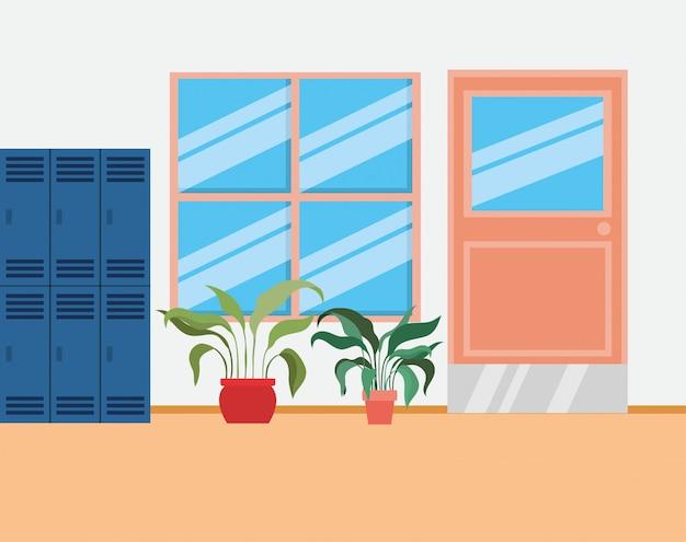 Corridoio della scuola con scena di armadietti