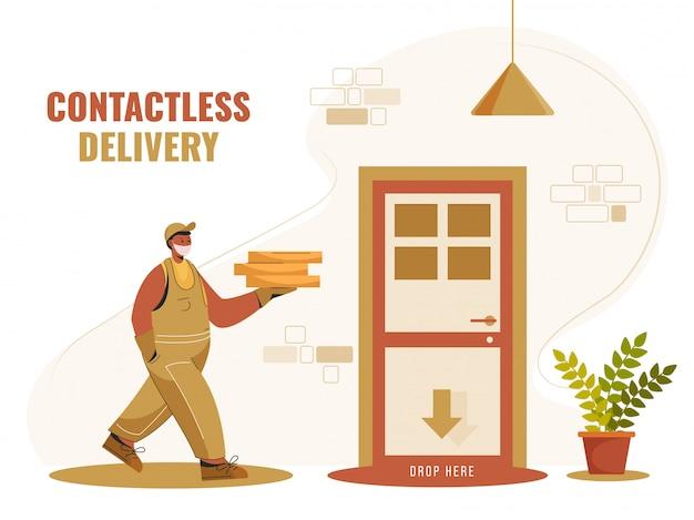 Corriere boy holding pacchetti da rilasciare alla porta per un servizio di consegna senza contatto. ferma coronavirus.