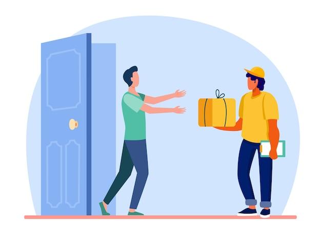 Corriere che consegna l'ordine alla porta del cliente. uomo che ottiene pacco, scatola, pacchetto piatto illustrazione vettoriale. postino, spedizione, servizio