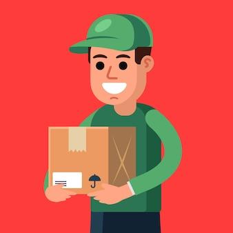 Corriere con un pacco in mano. consegna del carico. illustrazione vettoriale di carattere piatto