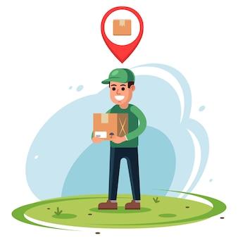 Corriere con un pacco in mano. indicatore di posizione della posta online. illustrazione vettoriale di carattere piatto