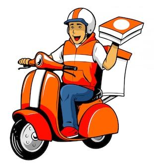 Corriere consegna uomo in sella al vecchio scooter