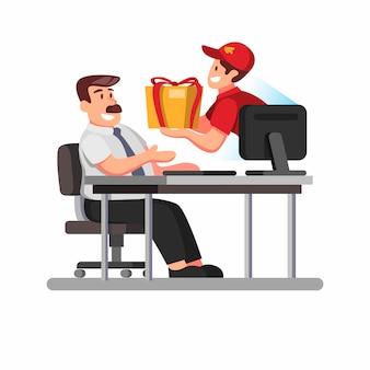Corriere dal monitor computer al pacchetto di consegna e consegna al cliente. shopping online con illustrazione di simbolo di servizio di consegna veloce in stile cartone animato su sfondo bianco