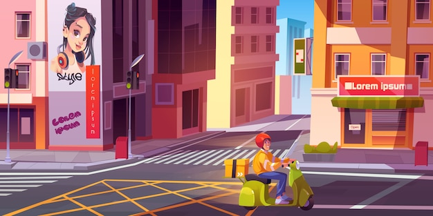 Corriere in bici sulla strada della città. giovane uomo di consegna con cassetta dei pacchi consegna di generi alimentari o merci su paesaggio urbano urbano vuoto con crocevia e semafori. fumetto illustrazione vettoriale