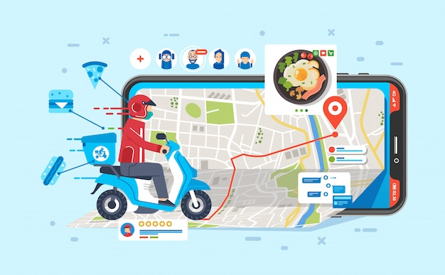 Corriere in sella a moto per l'invio di cibo ordinato dalla gente tramite app nell'illustrazione del telefono