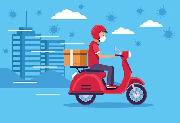 Corriere nel servizio di consegna moto