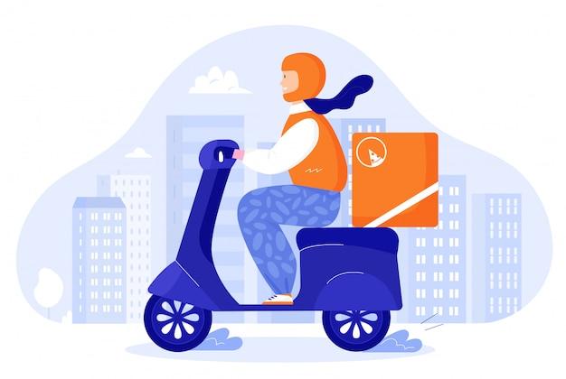 Corriere per pizza alimentare su scooter retrò con scatola bauletto. fumetto di concetto di consegna cibo app