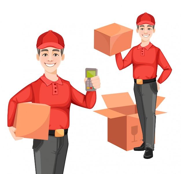Corriere, set di due pose. concetto di servizio di consegna