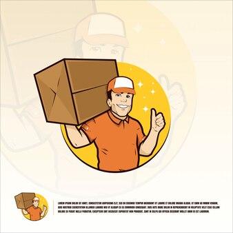 Corriere sorridente dell'uomo con il modello del pacchetto