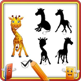 Corrispondenza di ombra del fumetto della giraffa