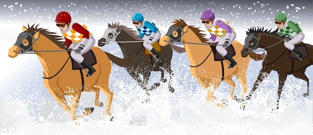 Corsa di cavalli di neve