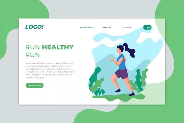 Corsa jogging pagina di destinazione sportiva