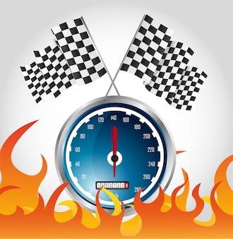 Corsa veloce con bandiere a scacchi e a scacchi