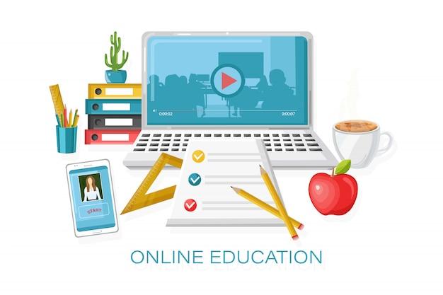 Corsi di formazione online. processo di apprendimento. illustrazione dei rifornimenti di scuola e del taccuino