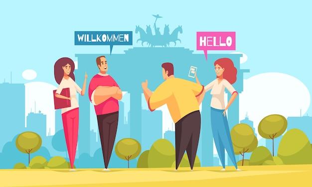 Corsi di lingua per corsi di conversazione, composizione piatta con 4 principianti e porta di brandeburgo in background