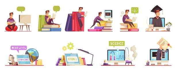 Corsi online di istruzione universitaria di laurea con diploma orizzontale di qualifica 12 insieme di composizioni di cartoni animati isolato