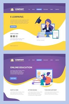 Corsi online. modello della pagina del sito di affari del consulente a distanza di internet dell'università della scuola del centro di addestramento di apprendimento sul web