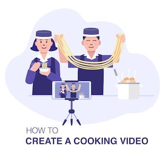Corso di cucina online, una giovane coppia asiatica che prepara cibo cinese e registra con lo smartphone.