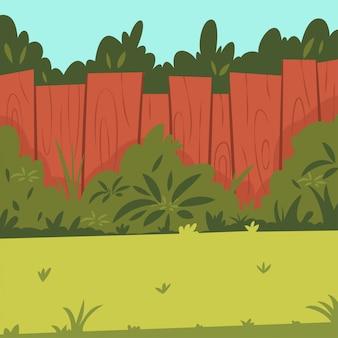 Cortile con recinzione in legno, giardino, cespugli e alberi. illustrazione di cartone animato.