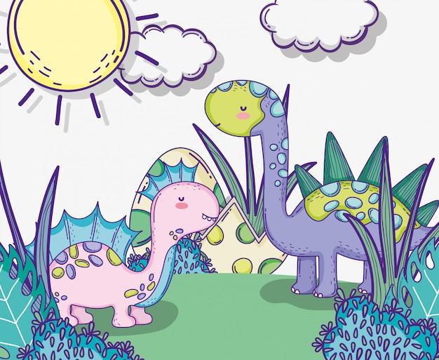 Corythosaururs e stegosauro animale con uova di dino