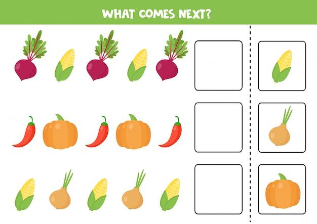 Cosa viene dopo con le verdure dei cartoni animati. barbabietola, mais, zucca, pepe, cipolla.